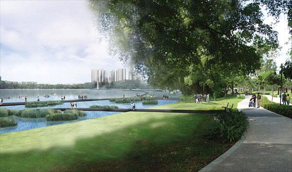Jurong Lake Park in front of LakeGrande Condo